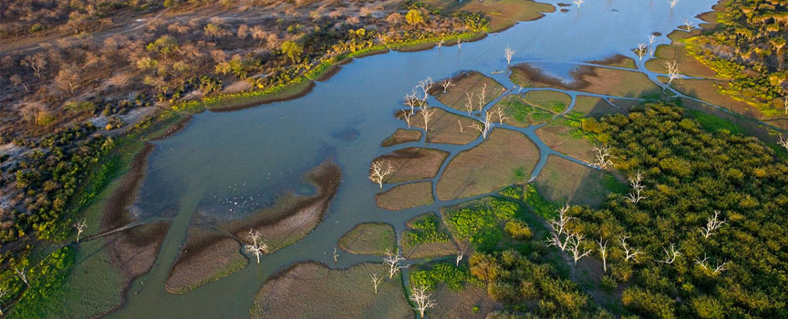 The Botswana Okavango Delta as seen from the air