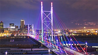 Johannesburg bridge with lights in South Africa