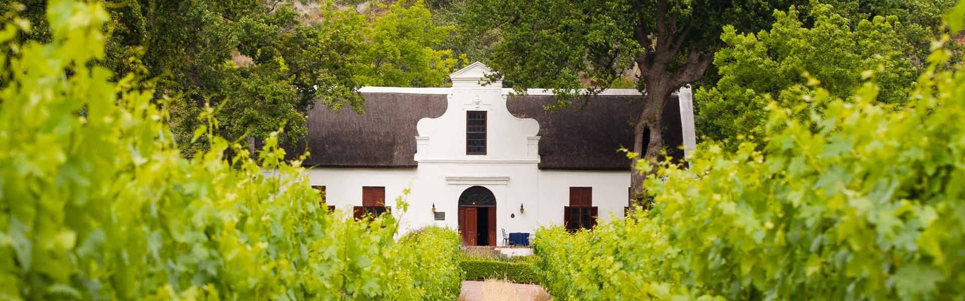 The Cape winelands of South Africa offer sophisticated charm with their Cape dutch architecture