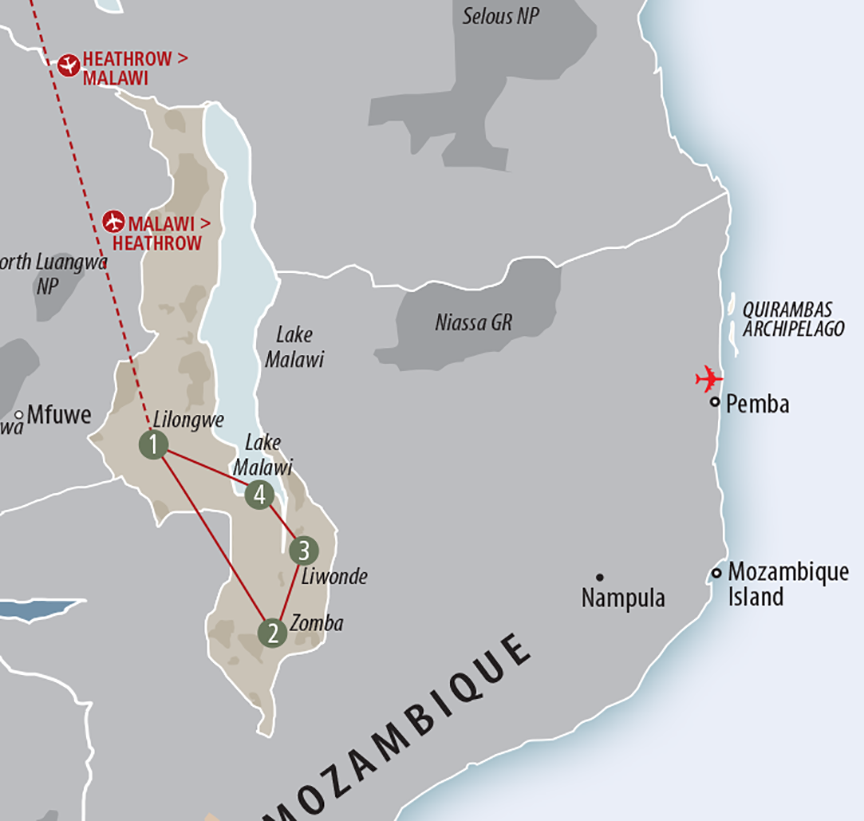 Lake Malawi Africa Map.Classic Malawi City And Beach Holiday Package Itinerary