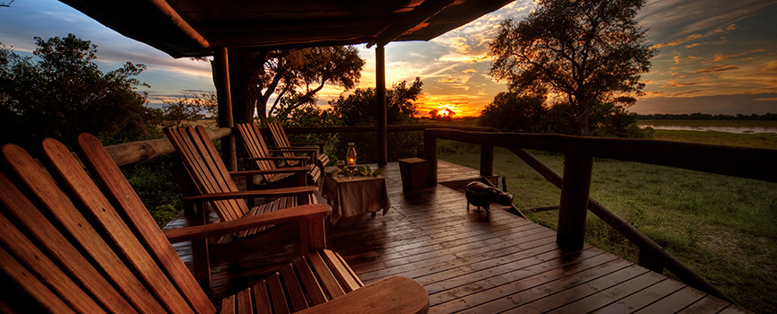 Elephant Bedroom Camp deck sunset