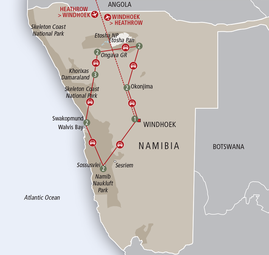 Africa Collection Highlights of Namibia, Self Drive Tour custom map