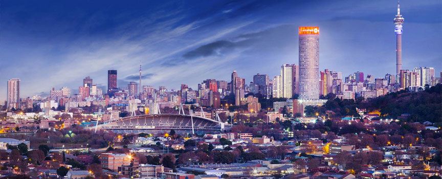 The magnicent city of Johannesburg in the early evening