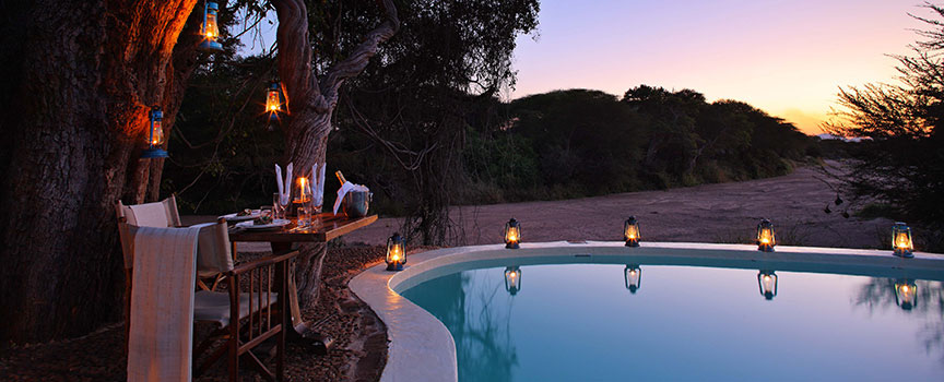 Jongomero romantic dinners by the pool in Tanzania