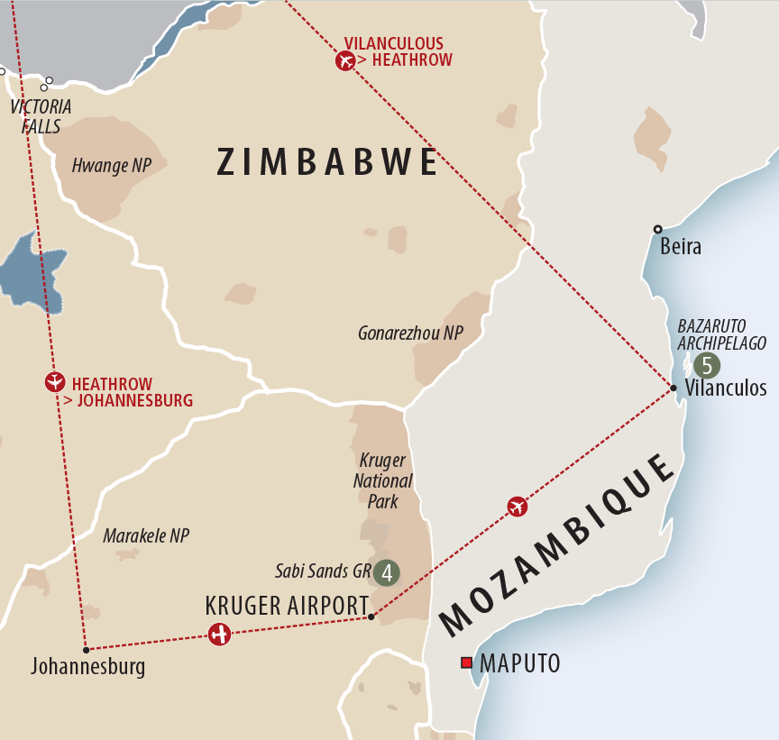Kruger National Park Safari and Mozambique Beach Holiday Itinerary