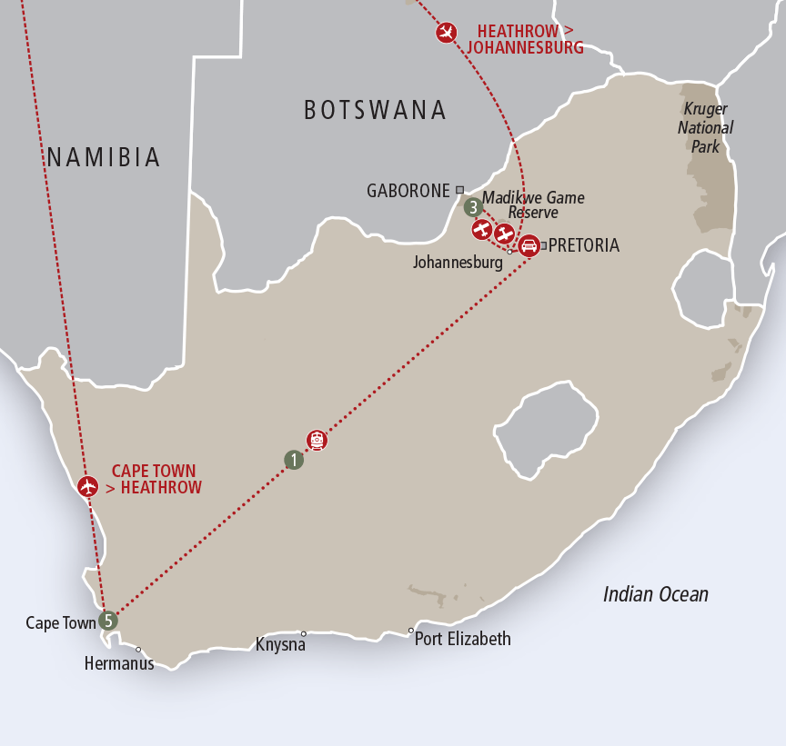 Africa Collection Madikwe Safari, Luxury Rail and Cape Town custom map