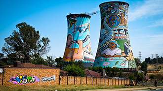 Orlando Power Station coal stack art in Soweto