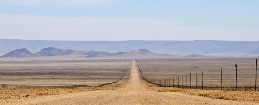 The vast Namibia road side