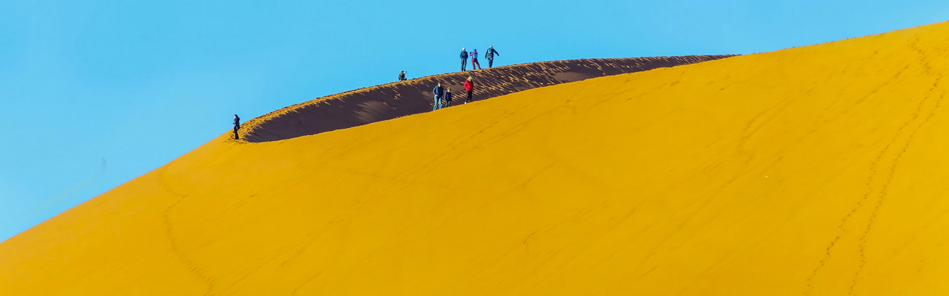 Sand dunes of Namibia's Namib desert with groups of travellers
