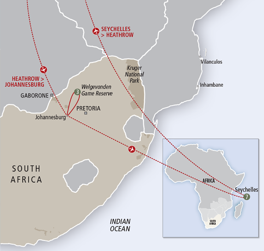 Africa Collection Luxury South Africa Safari & Seychelles custom map