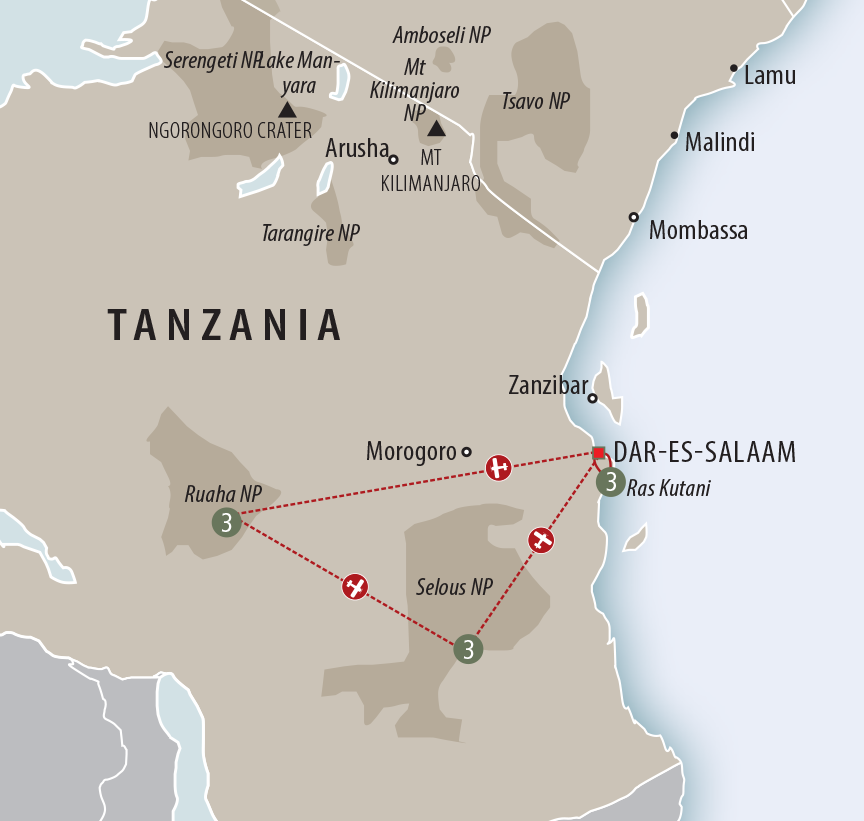 Africa Collection Southern Tanzania Safari & Beach Holiday custom map