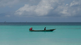 Tanzania Swahili coast with pristine beaches and local boats