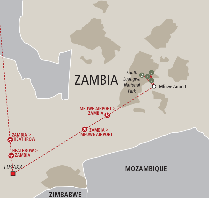 Africa Collection The Ultimate Zambia Walking Safari custom map